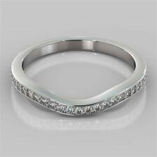 0.60 Cts Round Brilliant Cut Diamonds Band Ring In Fine Hallmark 14K White Gold