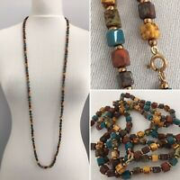 Vintage Necklace Art Deco Glass Cube Beads Faux Agate Long Hand Knotted Flapper