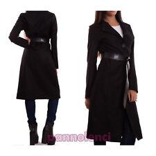 Women's coat trench wool black elegante jacket belt eco-leather new CR-1826