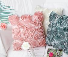 3D Flower Pattern Linen Cushion Cover Pillow Sofa Case Decor Office Pink White