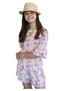 Smukke, Big Girls Tween Floral Printed Tier Ruffle Sleeves Romper, Pink, Size 16