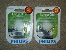 (2) NEW PACKS OF 2 PHILIPS LONGER LIFE 24 TAIL LIGHT BULBS 24LLB2 12V