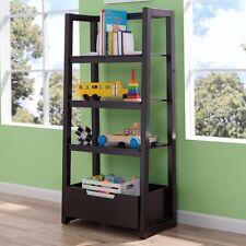 Accent Ladder Shelf Bookshelf Freestanding Storage Unit Sturdy Wood Brown Displa