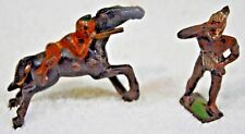 qty2 Rare Grey Iron Mounted Indian on Horse G50, Cast Iron Figure NICE Barclay M