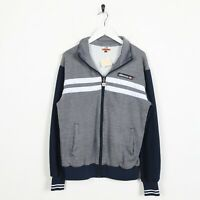 Vintage ELLESSE Small Logo Tracksuit Top Jacket Grey Blue | Small S