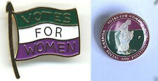Two Replica Suffragette Suffragettes Badges / Brooches - Flag and Sowing Seeds