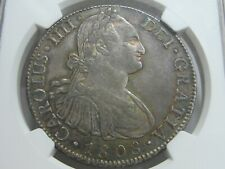 1808 MEXICO 8 REAL CHARLES IV NGC AU55 SPAIN COLONIAL SILVER SPANISH