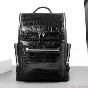 Handcrafted Crocodile Belly  Leather Backpack Shoulder Bag Travel Bag