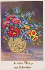 AK Wünsche zum Geburtstage, Golddruck, gelaufen 1940