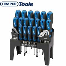 "DRAPER 44PC SOFT GRIP SCREWDRIVER 1/4"" BIT HEX ALLEN TORX KEY SET & STORAGE RACK"