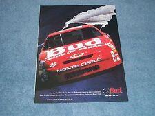 1995 Budweiser Beer Vintage NASCAR Monte Carlo Ad Ken Schrader