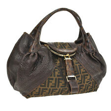 Auth FENDI Spy Bag Zucca Pattern Hand Bag Brown Canvas Leather VTG Italy F01211