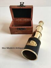 Vintage Brass Telescope Antique 8 Inch Hand Extending Old Naval Victorian Pirate