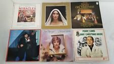 Lot of Six (6) Christmas Holiday Vinyl Record LPs Merle Haggard The Miracles Etc