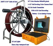 """Sewer Drain Pipe 10"""" LCD 200 FT 1-1/2"""" Self Leveling Camera  512HZ Sonde  USB SD"""