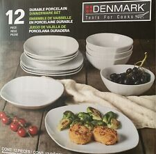 Denmark 12-Piece White Durable Porcelain Dinnerware Set. With detail