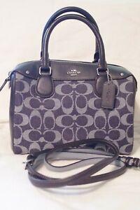 Coach Signature Bennett Mini Satchel F57619 Blue Logo Denim Women Handbag