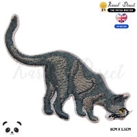 Cat Bob cat Grey Cat Embroidered Iron On Sew On PatchBadge For Clothes etc