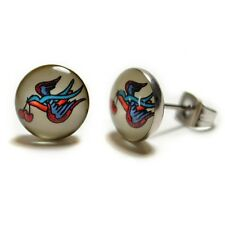 STAINLESS STEEL POST EARRINGS TATTOO BIRD 10mm Sailor Jerry Cherry Swallow Stud