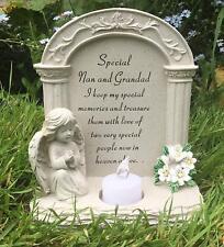 Nan And Grandad Graveside Memorial Plaque Praying Angel Tea Light