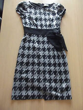 PER UNA BLACK & GREY DOGTOOTH PRINT JERSEY DRESS SIZE 8