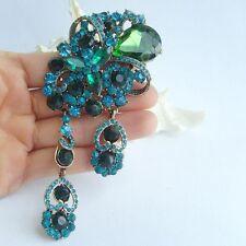 """Elegant 4.92"""" Turquoise Rhinestone Crystal Flower Drop Brooch Pin Deco Ee06523C6"""
