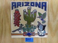 """Ceramic Art Tile 6""""x6"""" Arizona Saguaro chilles quail pottery trivet wall B61"""