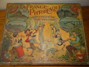 La France Pittoresque Jeu de Loto avec six planches chromolithographié et Jetons
