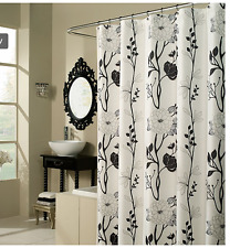 Black and White Flower Fabric Shower Curtain