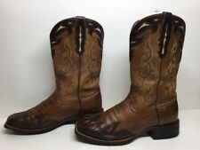 VTG WOMENS ARIAT ATS SQUARE TOE COWBOY LEATHER BROWN BOOTS SIZE 9.5 B
