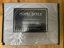 Hotel Style Queen 600 Thread Count Sheet Set 100% Cotton w/ Sateen Weave - Gray