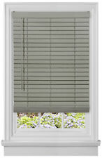 "Cordless Gray Mini Window Blinds 2"" Inch Faux Wood Grain Plantation Blind"