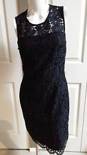 NEW BANANA REPUBLIC ELEGANT FLORAL LACE BLACK/NAVY SHEATH DRESS SIZE 8