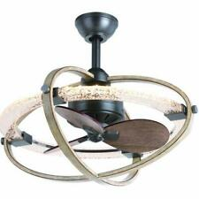 """22"""" Natural Iron w/ Distressed Faux Wood LED Indoor Ceiling Fan/Fandelier"""