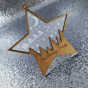 Personalised Christmas Tree Bauble star Decoration family gift