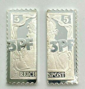 3 Pfennig Vineta-Provisorium Reichspost Briefmarke 1901 999er Silber