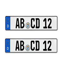 2 Stück EU kurz Kennzeichen 46 cm Nummernschilder für PKW Anhänger Fahrradträger