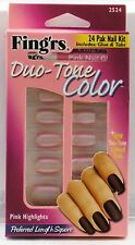 Fing'rs Duo-Tone Color 24 Pak Nail Kit Preferred Length- Pink Highlights - 2524