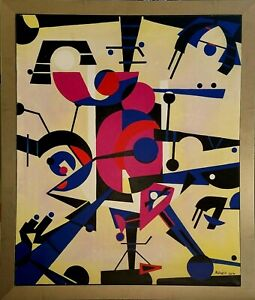 Angel Alfonso Centro Mixed Canvas 37X31 Original Painting Cuban Art 2016