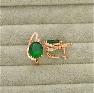 Delicate 3Ct Oval Cut Green Emerald Huggie Hoop Earrings 14K Rose Gold Over