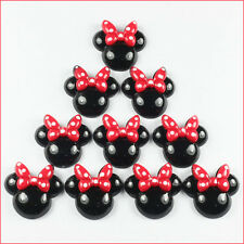Bulk 10 pcs Resin Minnie Mouse Red Bow Flatback Scrapbooking Hair Bow Crafts BIN