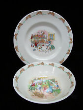 Bunnykins 1936 Royal Doulton England Childs Bowl Plate SetFine Bone China Signed
