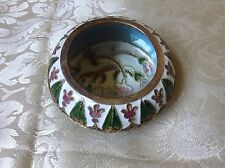 QVC Enameled Flower Magnifying Glass Collectible Metal Trinket Box