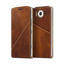 Mozo Microsoft Lumia 950 Qi Wireless Charging Note Flip Cover with NFC - Brown