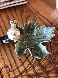 Bird On Leaf Ceramic Trinket Dish Creative Co-op HD5958