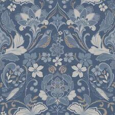 Folk Floral Denim Blue Wallpaper Flower Botanical Animal Print Bird Arthouse