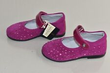 New NATURINO Kids Girls SWAROVSKI Crystals Magenta Suede Mary Jane Shoes 20 23