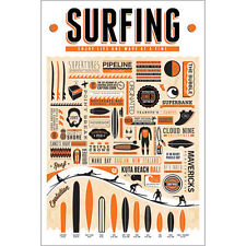 Surfing POSTER 61x91cm NEW Art Creative Surf Pipeline Surfboards