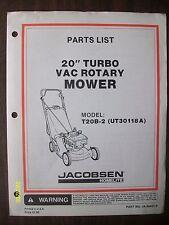 Vintage Jacobsen Homelite 20-inch Turbo Vac Mower Jacobsen Model T20B-2 List