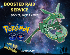 Pokémon Go BOOSTED RAYQUAZA RAID✔ CHANCE SHINY✔GUARANTEED CATCH✔ Buy 3, One FREE